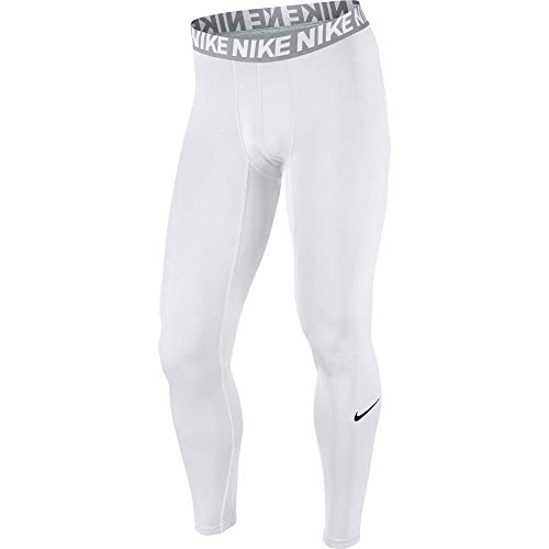 NIKE Men's Base Layer Training Tights, White/Matte Silver/White/Black, Small