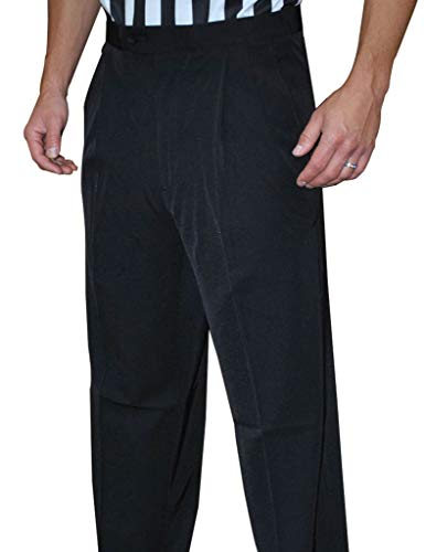 Smitty Men's Basketball Premium 4-Way Stretch Pleated Front Tapered FIT Officials Pants - Slash Pockets (32)