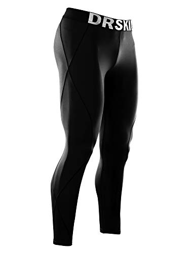 DRSKIN Men's Compression Pants Sports Tights Leggings Baselayer Running Workout Active Yoga Dry Thermal Warm Wintergear (XL, DABB11) Black