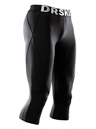 DRSKIN 1~3 Pack Men's 3/4 Compression Tight Pants Base Under Layer Running Shorts Cool Dry (BB807, M)