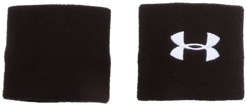 Under Armour 3' Performance Wristband, Black (001)/White, One Size Fits All