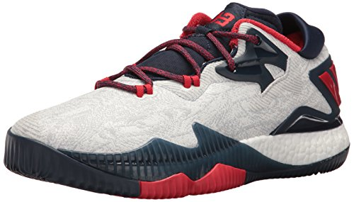 adidas Men's Shoes   Crazylight Boost Low Basketball, White/Light Scarlet/Collegiate Navy, (14 M US)