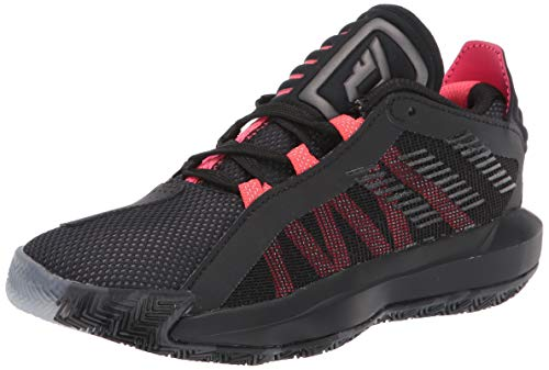 adidas Kids Unisex's Dame 6 Basketball Shoe, core Black/Trace Grey met./Shock Red, 13K M US