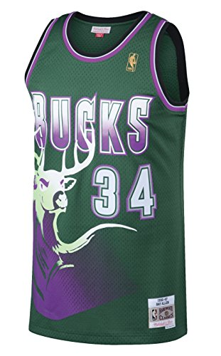 OuterStuff Ray Allen Milwaukee Bucks NBA Mitchell & Ness Youth Throwback Swingman Jersey