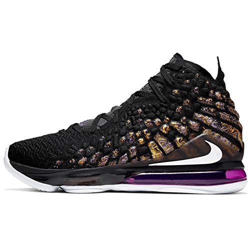 Nike Mens Lebron 17 Basketball Shoes (10, Black/White/Eggplant/Amarillo)