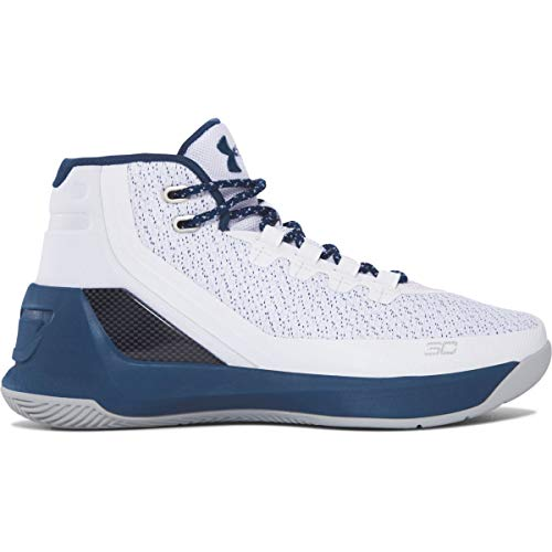 Under Armour Boys Curry 3 Basketball Shoe (White/Blue, Numeric_5)