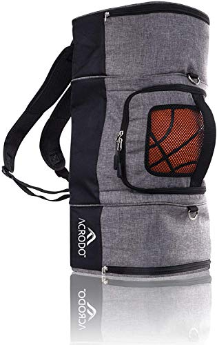 Acrodo Basketball Backpack with Ball Holder, Shoe Compartment, Lunch Cooler - Sports Duffel Bag Gym Tote for Girls, Boys, Men, Women