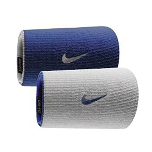 Nike Dri-Fit Home & Away Doublewide Wristbands (1 Pair, One Size Fits Most, Varsity Royal/White)