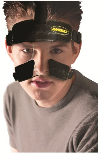 Bangerz HS-1500 Polycarbonate Nose Guard Face Shield - Protection from Impact Injuries - Basketball Baseball Soccer Racquet Sports