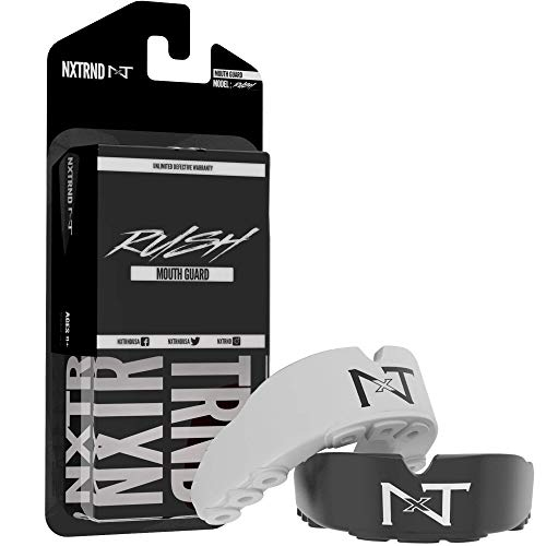 2 Pack Nxtrnd Rush Mouth Guard Sports – Professional Mouthguards for Boxing, Football, MMA, Wrestling, Lacrosse, and Other Sports, Fits Adults and Youth 11+, Mouth Guard Case Included (Black & White)
