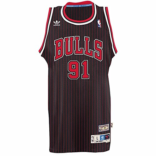 Adidas Men's Chicago Bulls NBA #91 Dennis Rodman Soul Swingman Jersey Black Medium