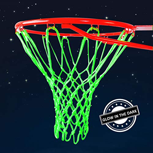 Demlor Basketball Rim Net Outdoor Sports Glow in The Dark Nylon Basketball Hoop Net All Weather Thick Standard Basketball Net