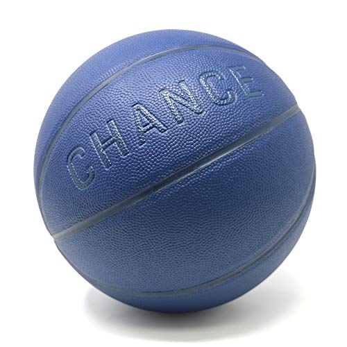 Chance Premium Indoor/Outdoor Basketball - Composite Leather (Sizes: 5 Youth, Size 6 WNBA Womens, Size 7 NCAA Mens, NBA Basketball Ball Size) (5 Kids & Youth - 27.5','Violet Navy Blue)