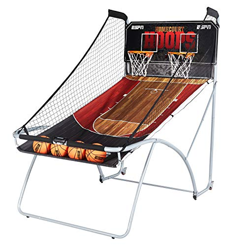 ESPN EZ Fold Indoor Basketball Game for 2 Players with LED Scoring and Arcade Sounds (6-Piece Set), Black (1658128)